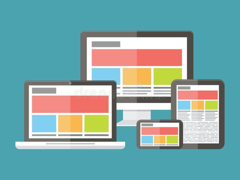 Diseño web responsivo, desarrollo de aplicaciones y ilustración del vector