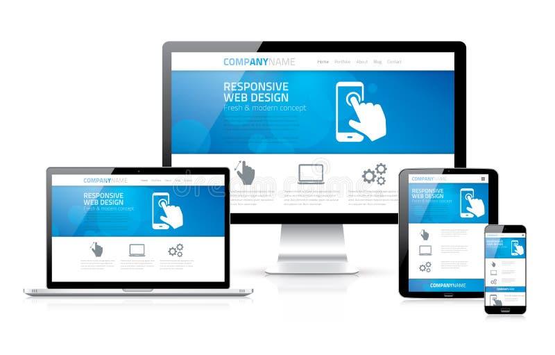 Diseño web responsivo moderno escalable y flexible stock de ilustración