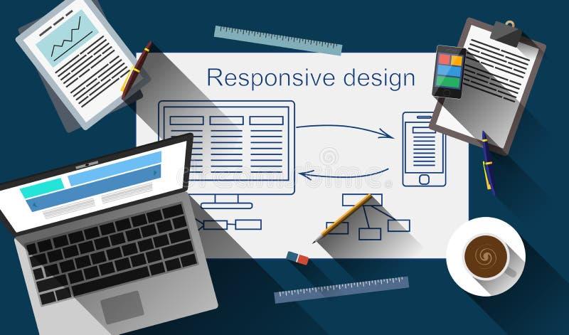 Diseño web responsivo que crea vector de proceso ilustración del vector