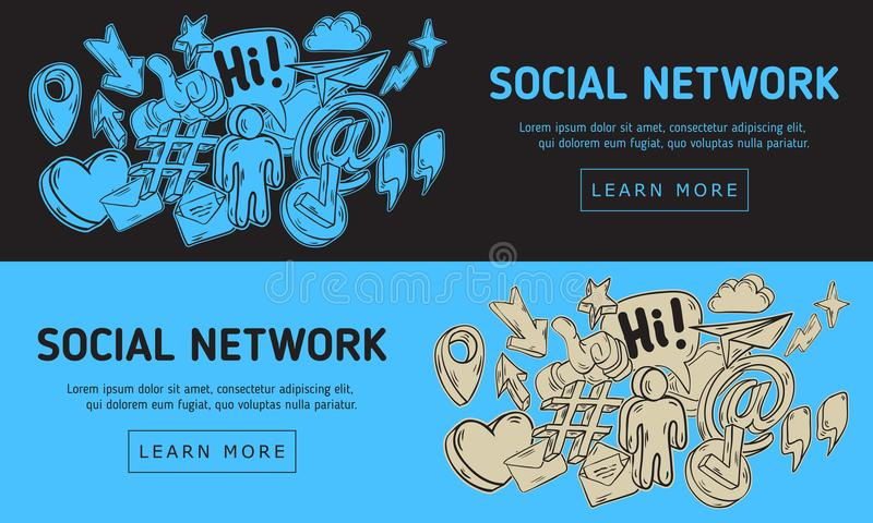 Diseño web social de la red con incompleto dibujada mano artística relacionado esencial aislada de la historieta de los iconos y  libre illustration