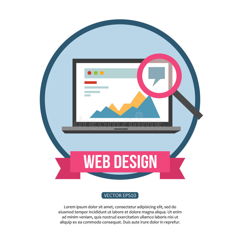 Diseño web y concepto del desarrollo Diseño plano stock de ilustración
