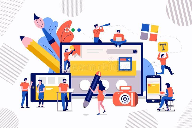 Diseño web y desarrollo del trabajo en equipo ilustración del vector