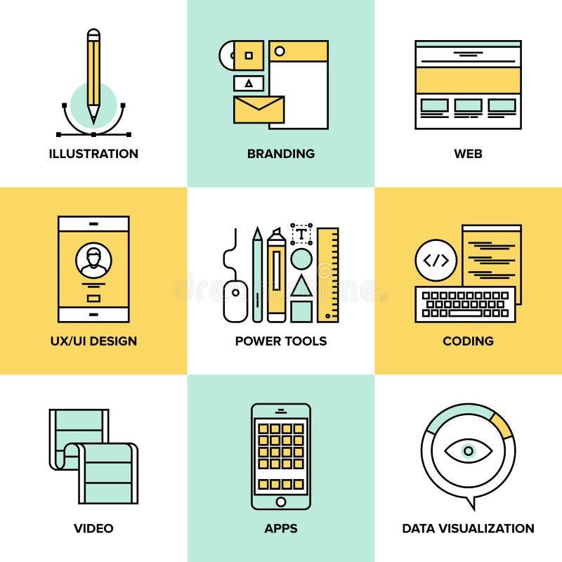 Diseño web y línea plana iconos del desarrollo stock de ilustración