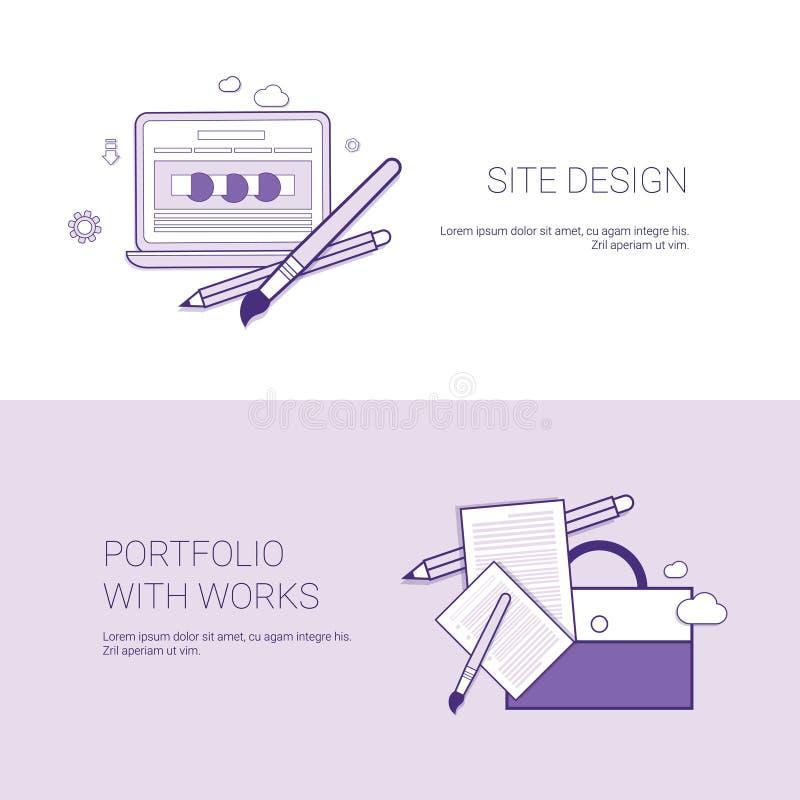 Diseño y cartera del sitio web con la bandera de la plantilla de los trabajos con el espacio de la copia stock de ilustración