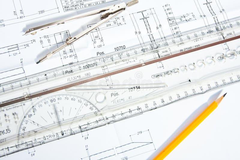 Diseño y gráfico de ingeniería imagen de archivo