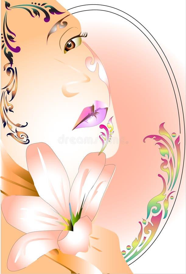 Diseño y línea del arte de la señora tailandeses stock de ilustración