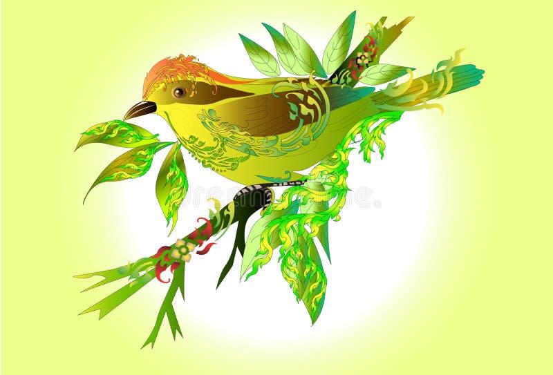 Diseño y línea del arte del pájaro tailandeses stock de ilustración