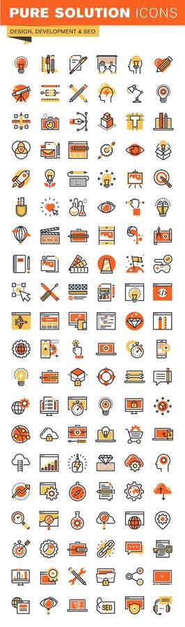 Diseño y línea fina colección plana del desarrollo de los iconos del web del diseño ilustración del vector