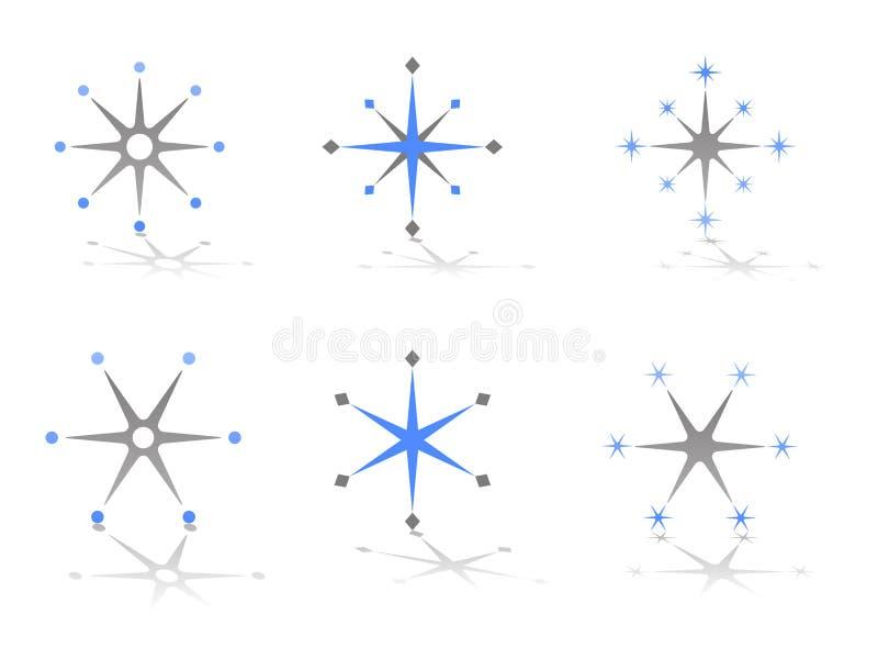 Diseños abstractos de la insignia del vector de la estrella y del copo de nieve stock de ilustración