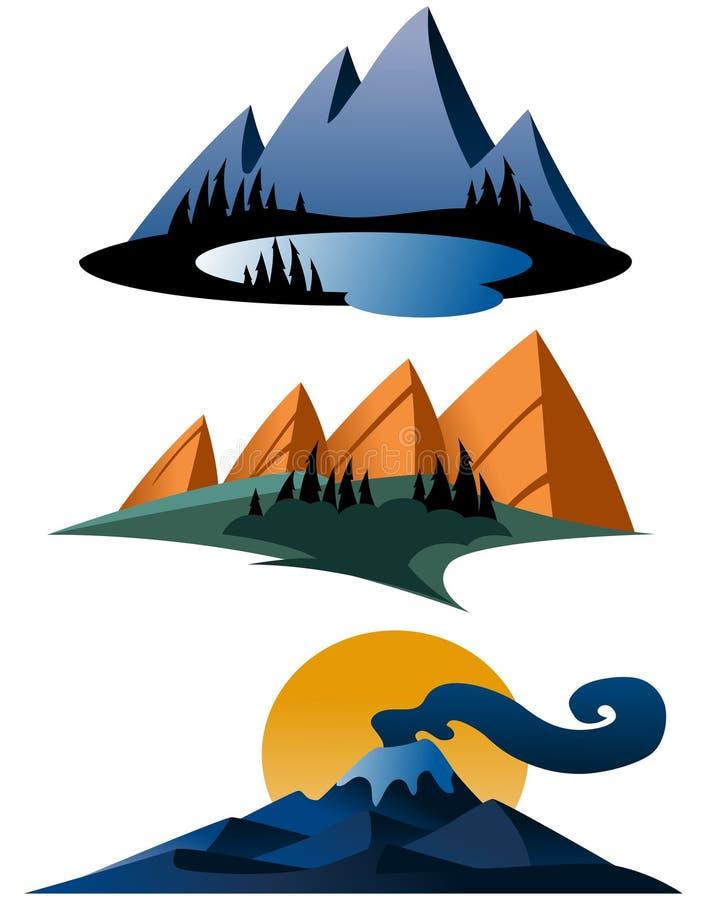 Diseños abstractos de la montaña ilustración del vector