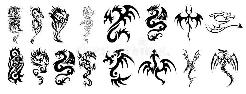Diseños complejos del dragón para los tatuajes stock de ilustración