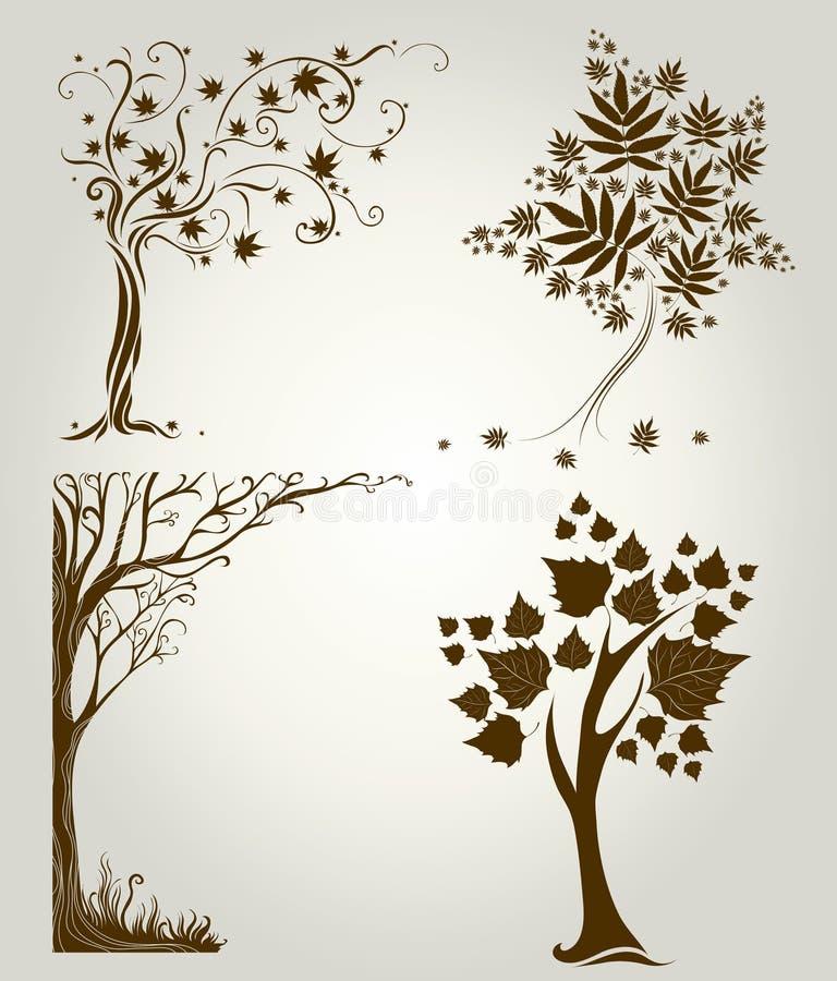 Diseños con el árbol decorativo de las hojas ilustración del vector