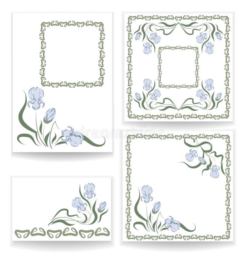 Diseños con el iris azul stock de ilustración