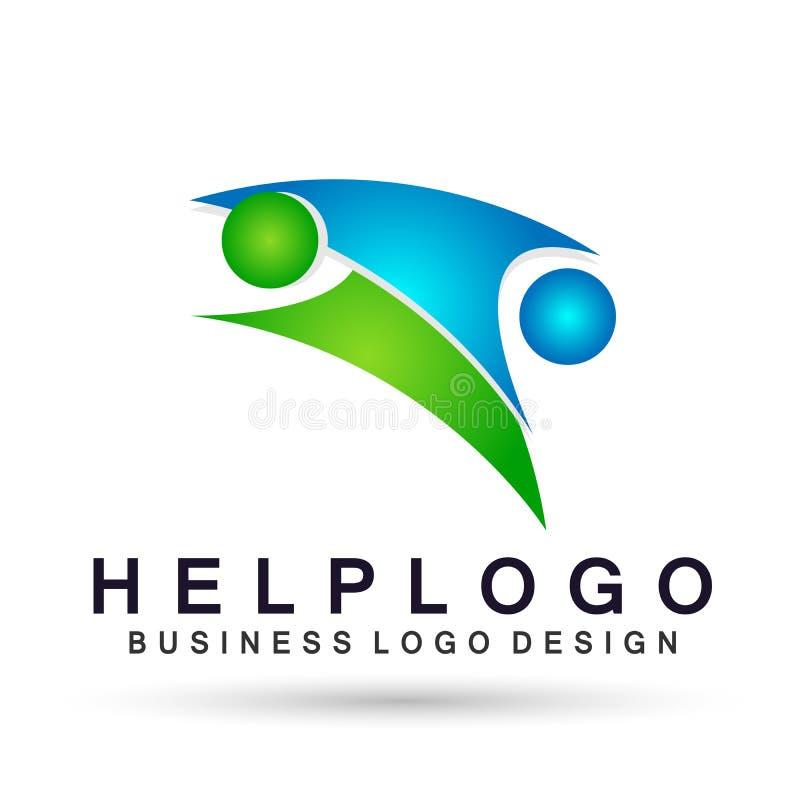 Diseños de ayuda del vector del icono del símbolo de la gente del trabajo de grupo de la sociedad del trabajo del equipo de los p stock de ilustración