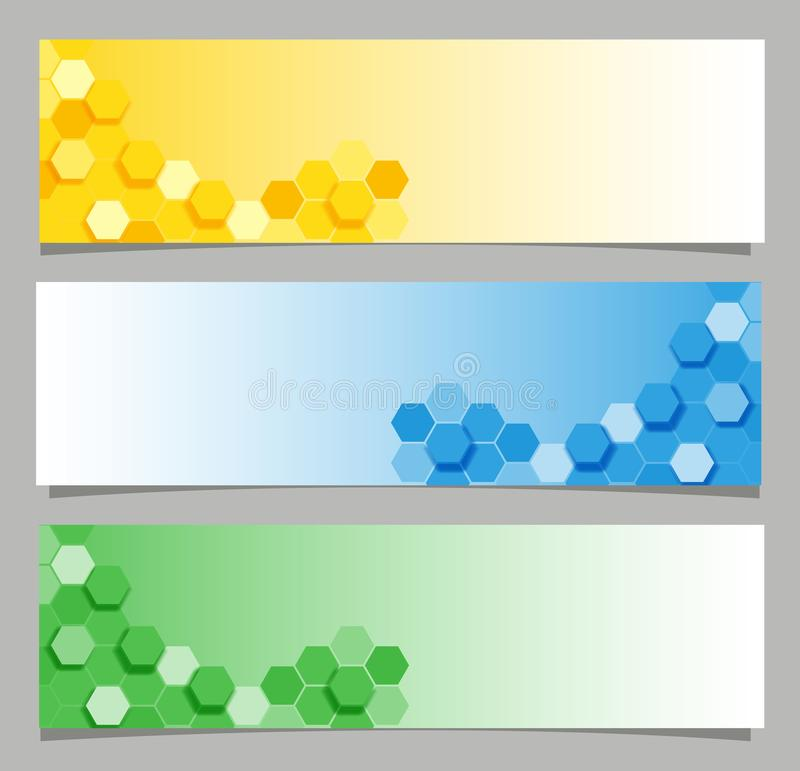 Diseños de la bandera con hexágono en tres colores stock de ilustración