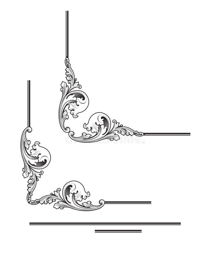 Diseños de la esquina del estilo del Acanthus ilustración del vector