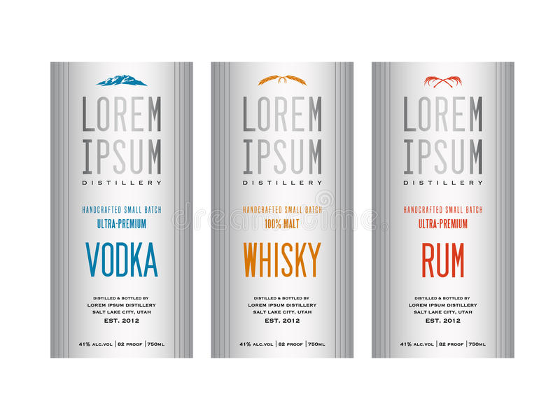 Diseños de la etiqueta de la botella del licor stock de ilustración