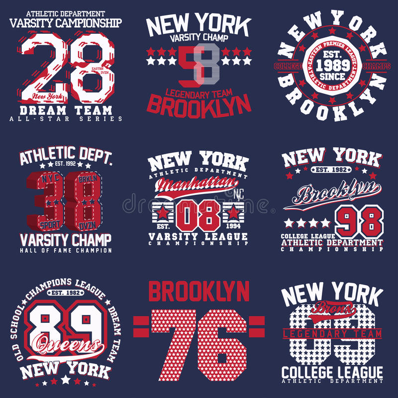 Diseños de la impresión de la camiseta fijados ilustración del vector