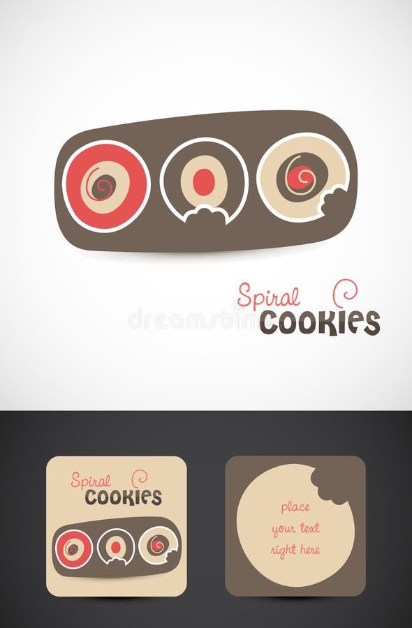 Diseños de la insignia de las galletas de la panadería stock de ilustración