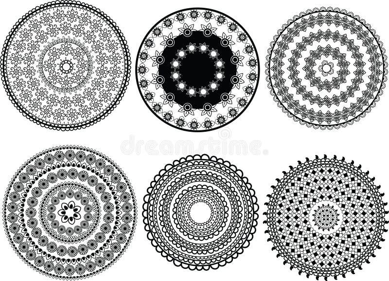 Diseños de la mandala de la alheña ilustración del vector