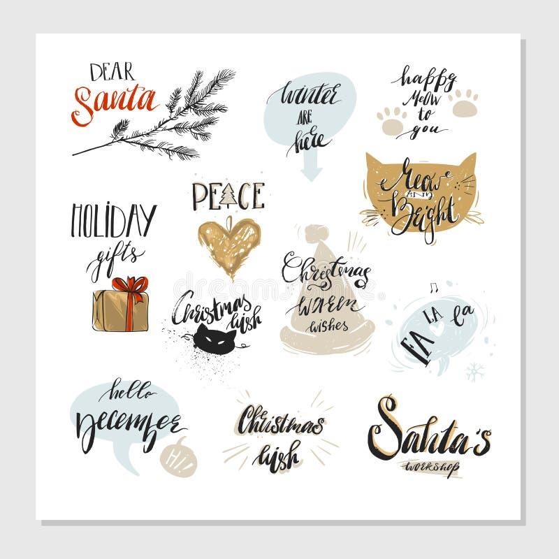 Diseños de la tipografía de la Feliz Navidad y de la Feliz Año Nuevo fijados Ilustración del vector libre illustration