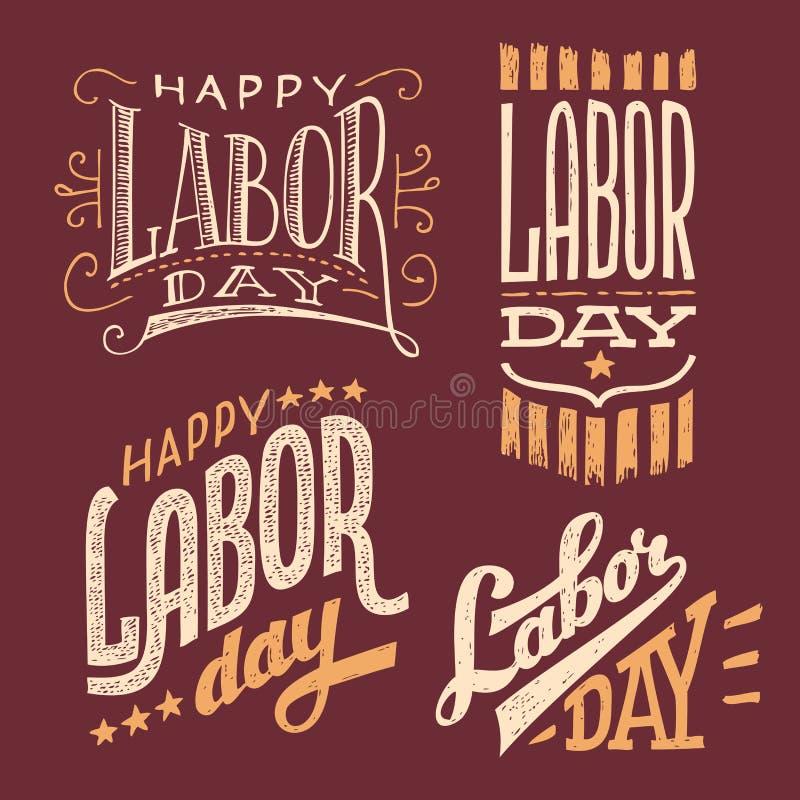 Diseños de las mano-letras del vintage del Día del Trabajo stock de ilustración
