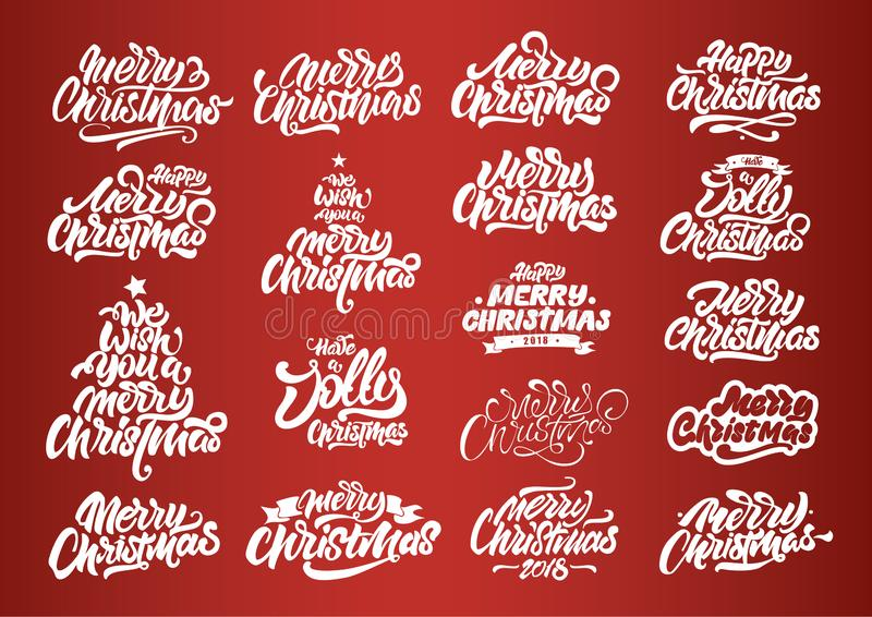 Diseños de letras blancos de la Feliz Navidad Tipograf?a de la Feliz A?o Nuevo Logotipos de las letras de la Feliz Navidad para l imagen de archivo
