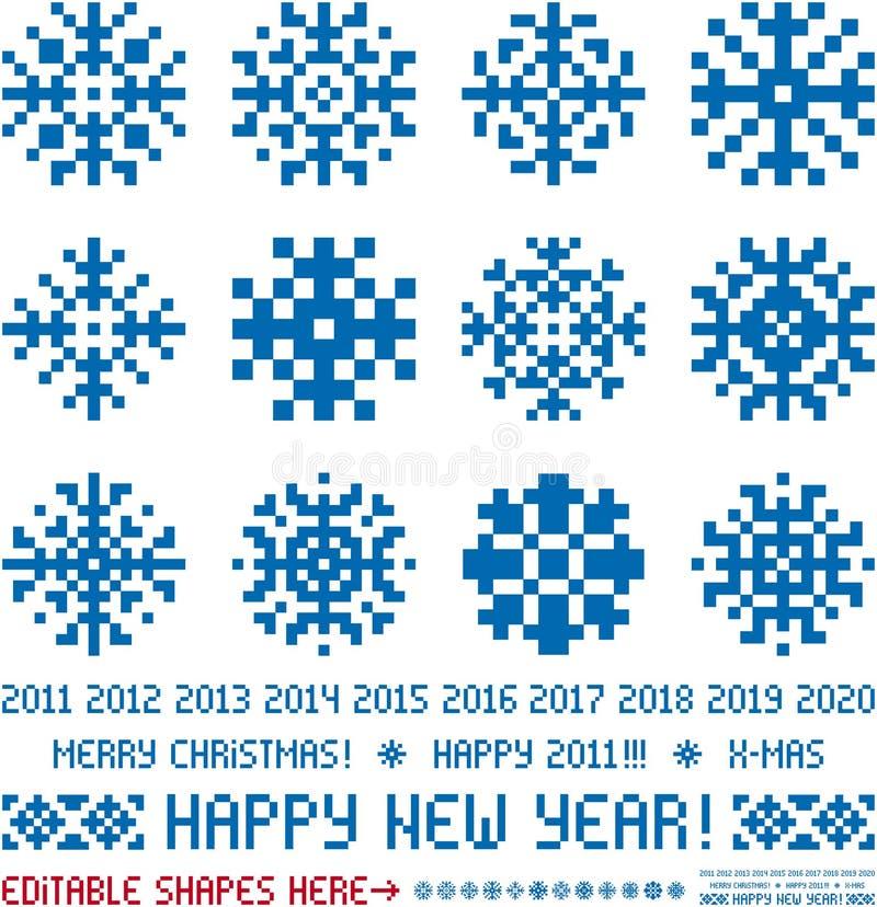 Diseños de los copos de nieve de la Navidad en estilo del pixel libre illustration