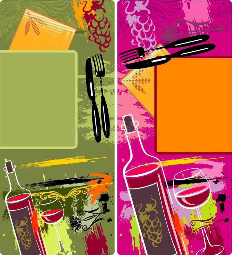 Diseños de los modelos de Grunge de menú stock de ilustración