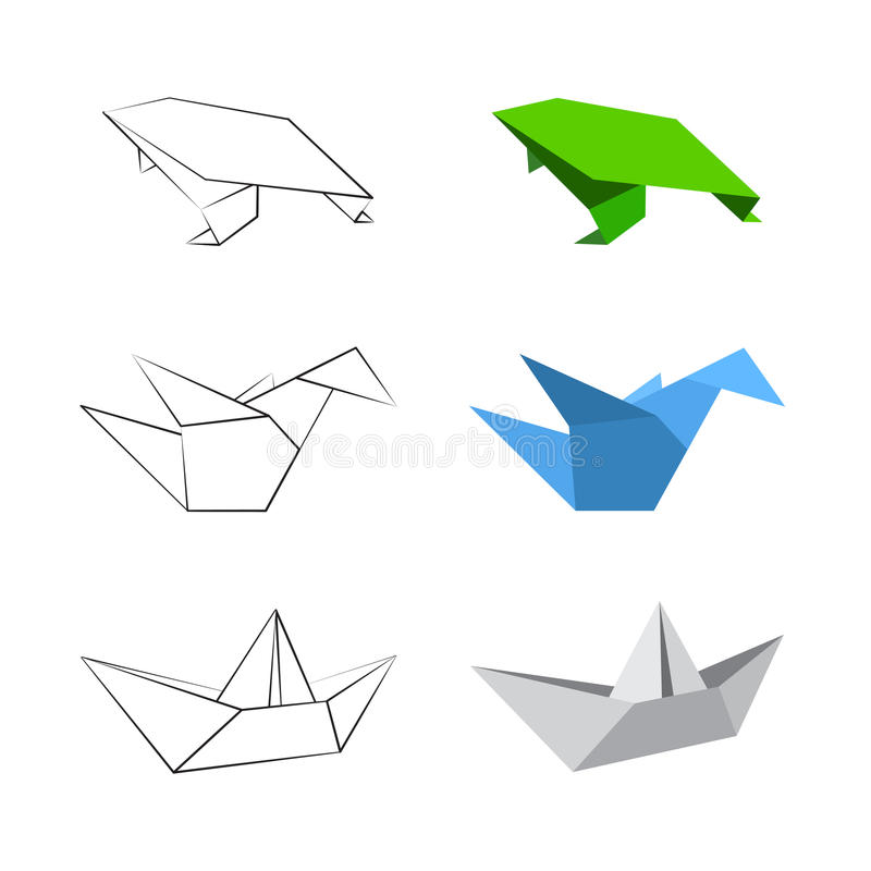 Diseños de Origami ilustración del vector