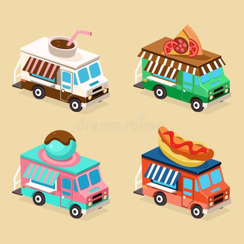 Diseños del camión de la comida Conjunto de ilustraciones del vector stock de ilustración