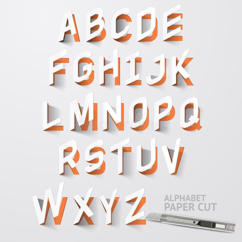 Diseños del corte del papel del alfabeto Vector ilustración del vector