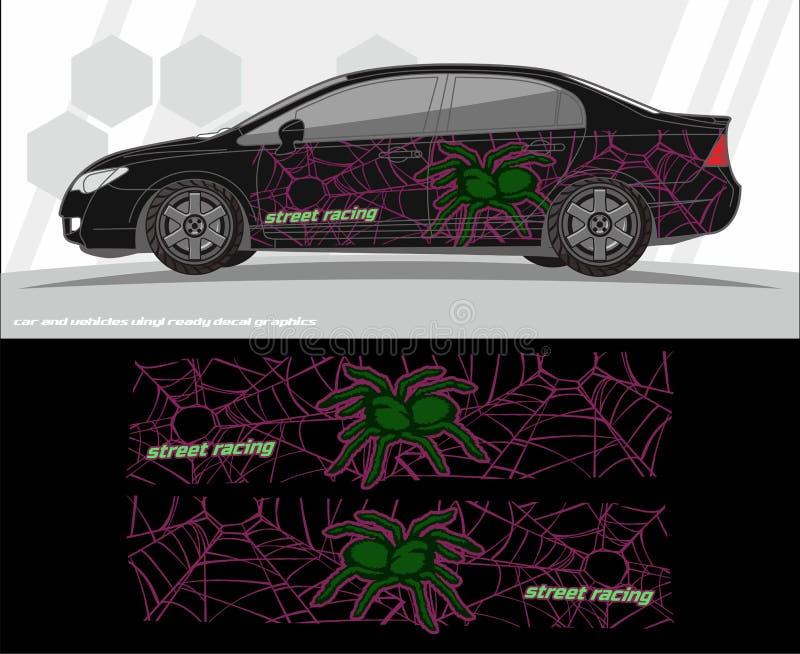 Diseños del equipo de los gráficos de la etiqueta del coche y de los vehículos aliste para imprimir y para cortar para las etique ilustración del vector