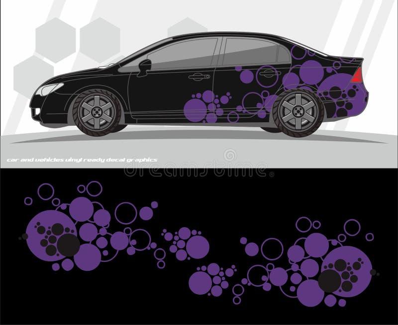Diseños del equipo de los gráficos de la etiqueta del coche y de los vehículos aliste para imprimir y para cortar para las etique stock de ilustración