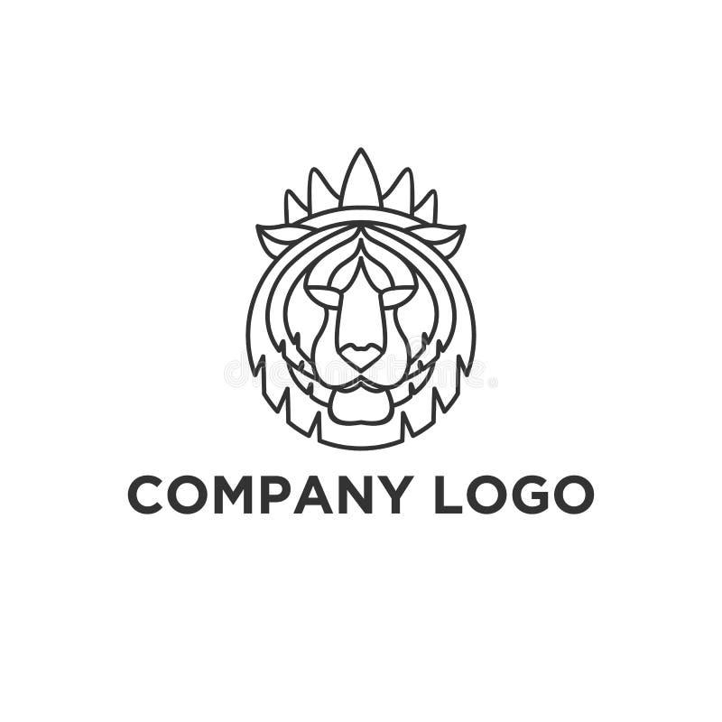 Diseños del logotipo de la cara del tigre stock de ilustración