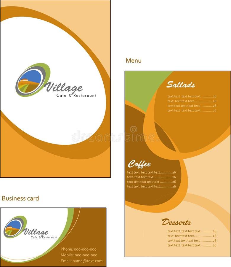 Diseños del modelo de tarjeta del menú y de visita para el co libre illustration