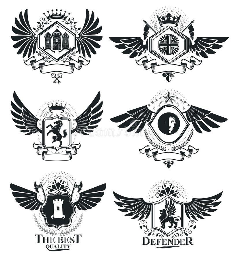 Diseños del premio del vintage, escudo de armas heráldico del vintage Emb del vector libre illustration