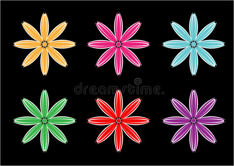 Diseños del vector del fondo de la flor en diversos colores libre illustration