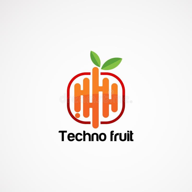 Diseños del vector del logotipo de la fruta de Techno con tacto moderno stock de ilustración