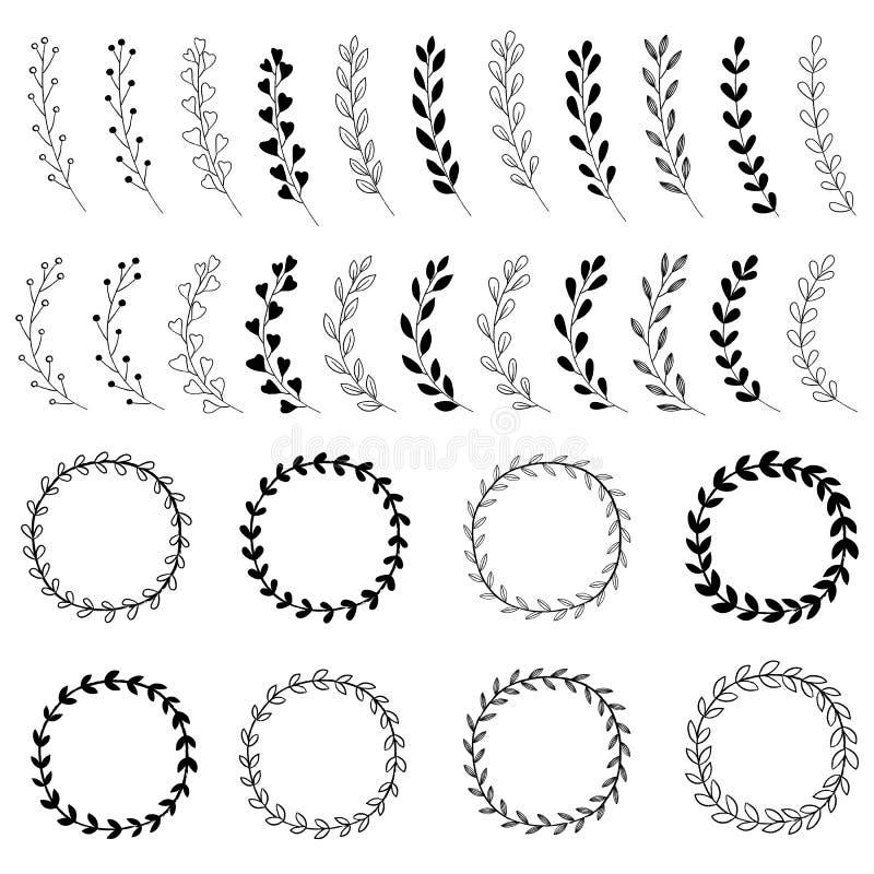 Diseños dibujados mano de la guirnalda ilustración del vector