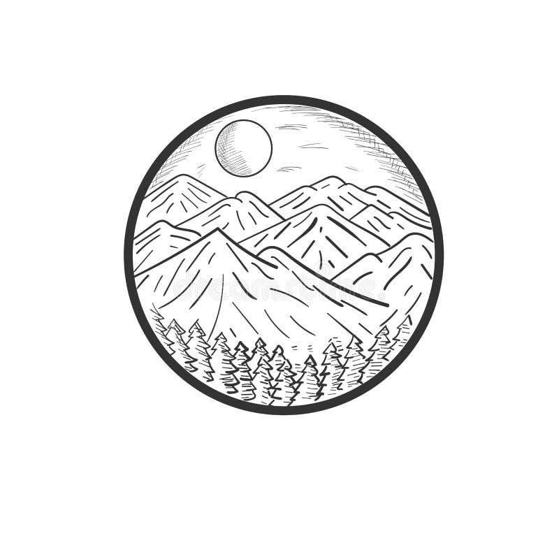Diseños exhaustos del ejemplo de la montaña de la mano libre illustration