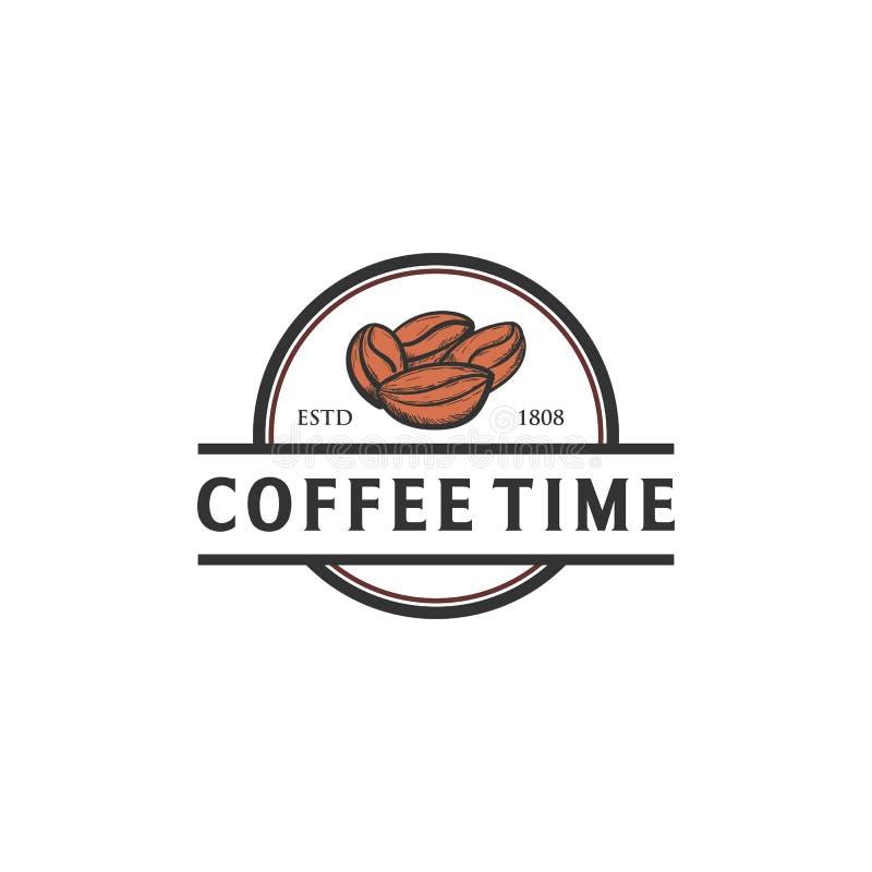 Diseños exhaustos del logotipo de la mano de la semilla del café ilustración del vector