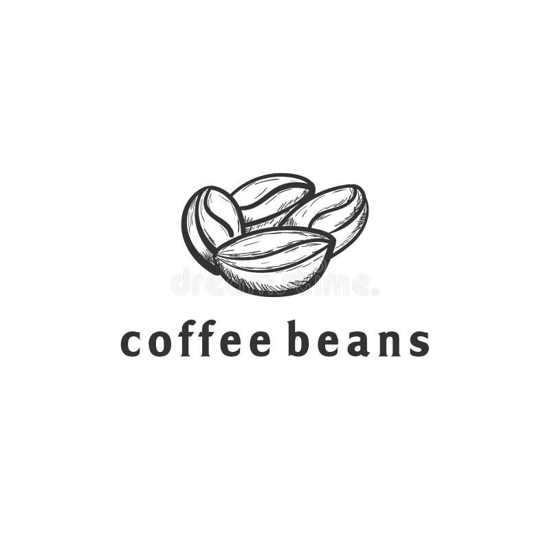 Diseños exhaustos del logotipo de la mano de la semilla del café libre illustration