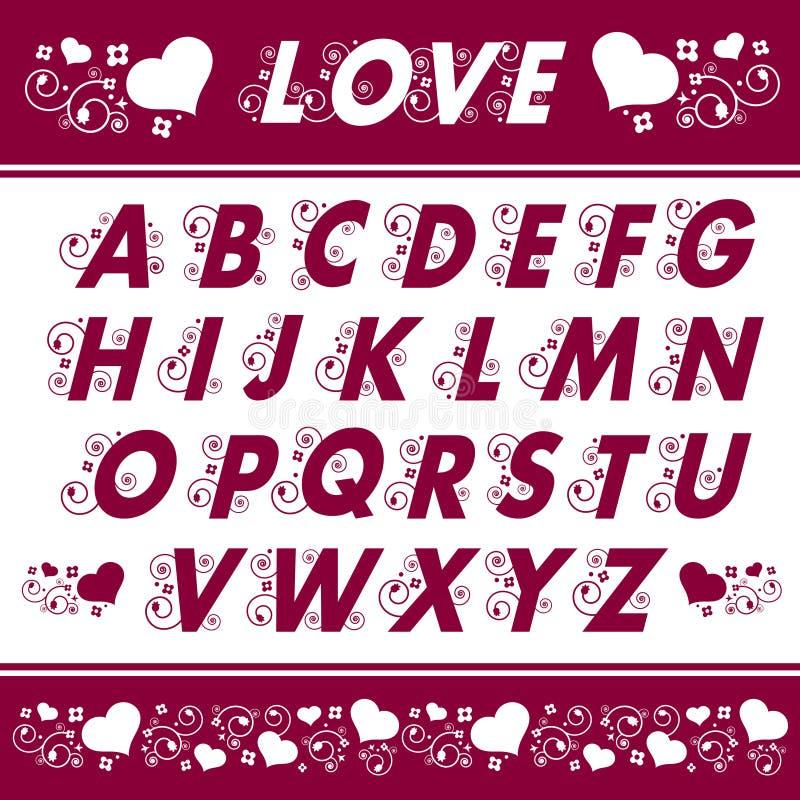 Diseños florales del alfabeto ilustración del vector