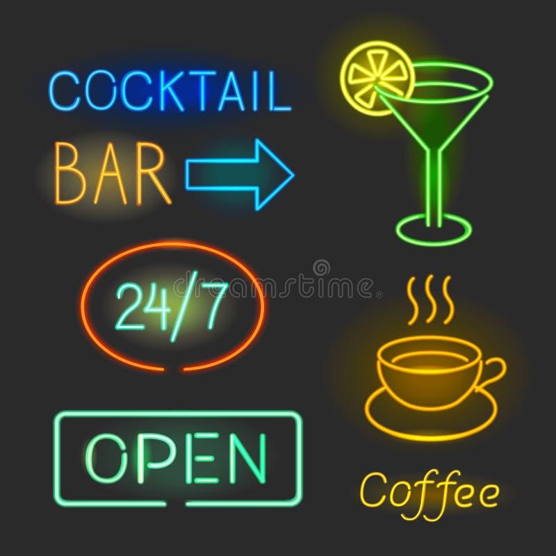 Diseños gráficos coloridos de las luces de neón que brillan intensamente para las muestras del café y de la barra en fondo negro ilustración del vector