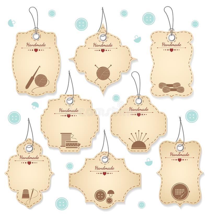 Diseños hechos a mano agradables de la etiqueta para Needleowrks stock de ilustración