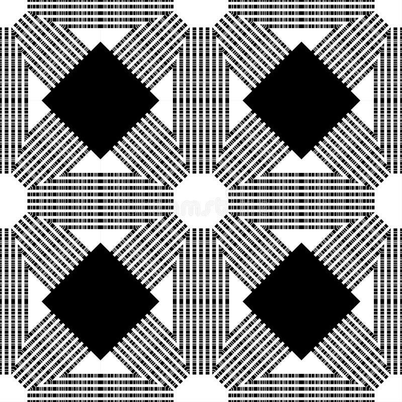 Diseños inconsútiles de moda del modelo Mosaico blanco y negro con hexágonos con textura rayada Vector el fondo geométrico stock de ilustración