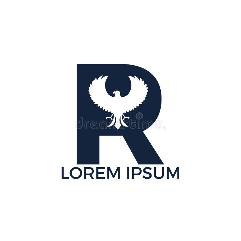 Diseños iniciales modernos del logotipo del halcón de la letra R stock de ilustración