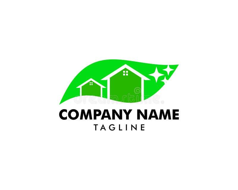 Diseños limpios con la hoja de la naturaleza, vector de limpieza del logotipo de la casa del logotipo del servicio stock de ilustración