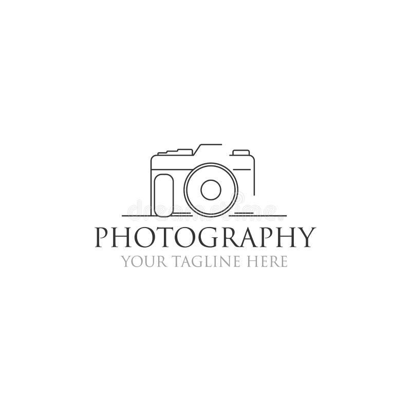 Diseños minimalistas del logotipo de la fotografía, línea estilo del arte ilustración del vector